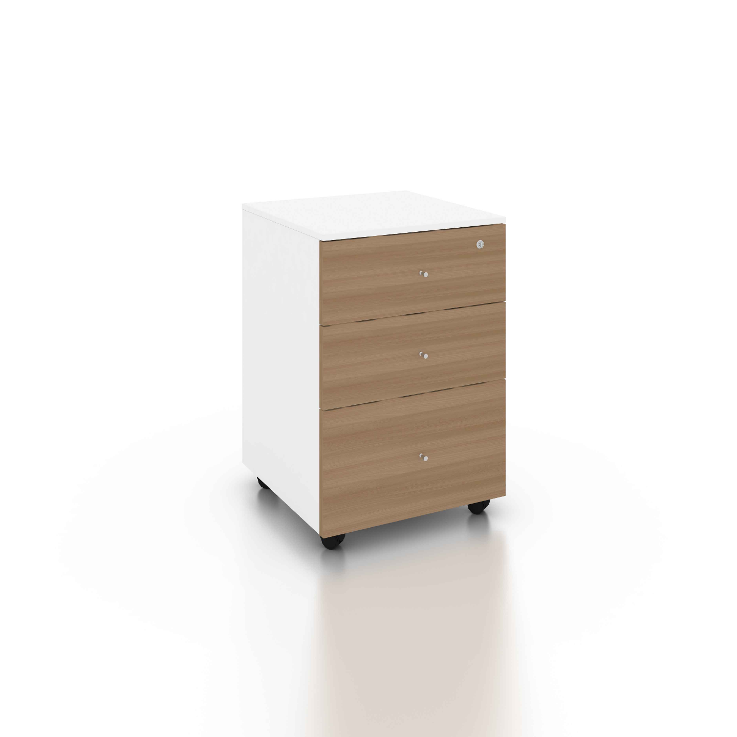 B-One Mobile 3 Drawers Teak  White