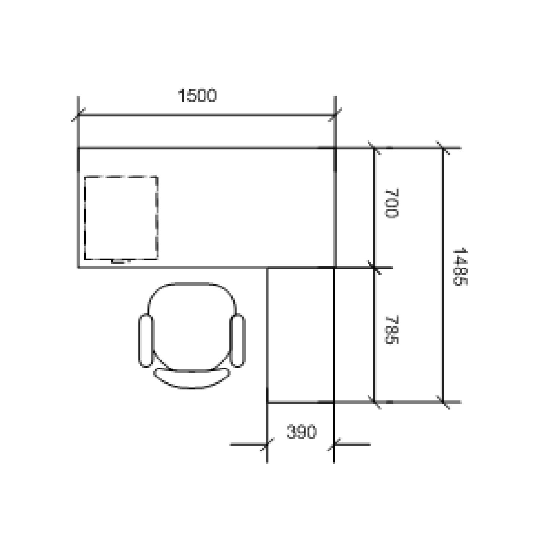 1.5m L-Shaped Table Set (Walnut)