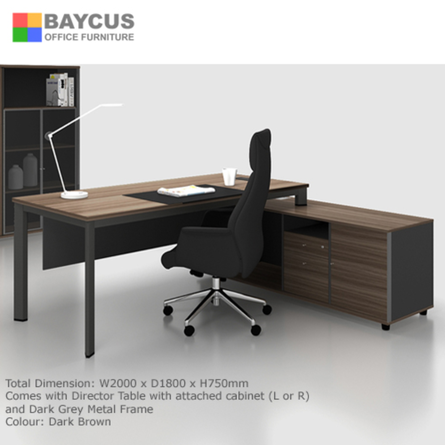 B-One N2 Director Table Set (Col. Dark Brown) - L or R