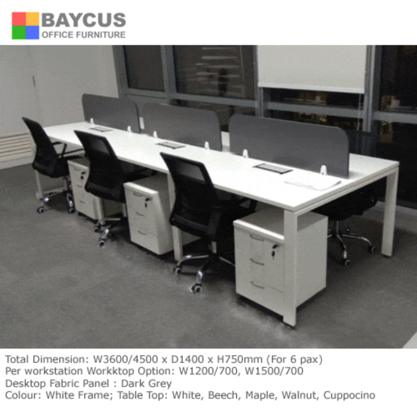 BS 1.5m x 0.7m Open Concept Workstation for 6 Pax