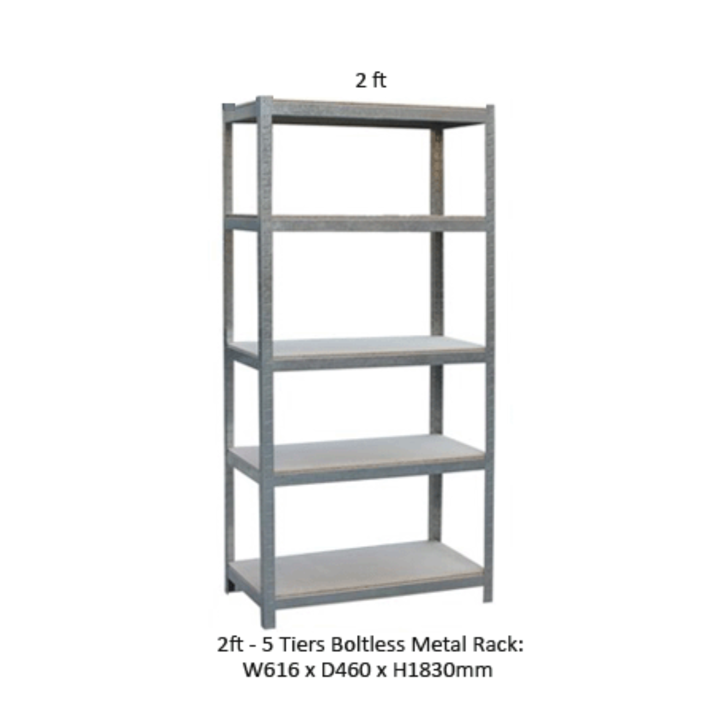 5 Tier Boltless Rack (Grey-2FT)