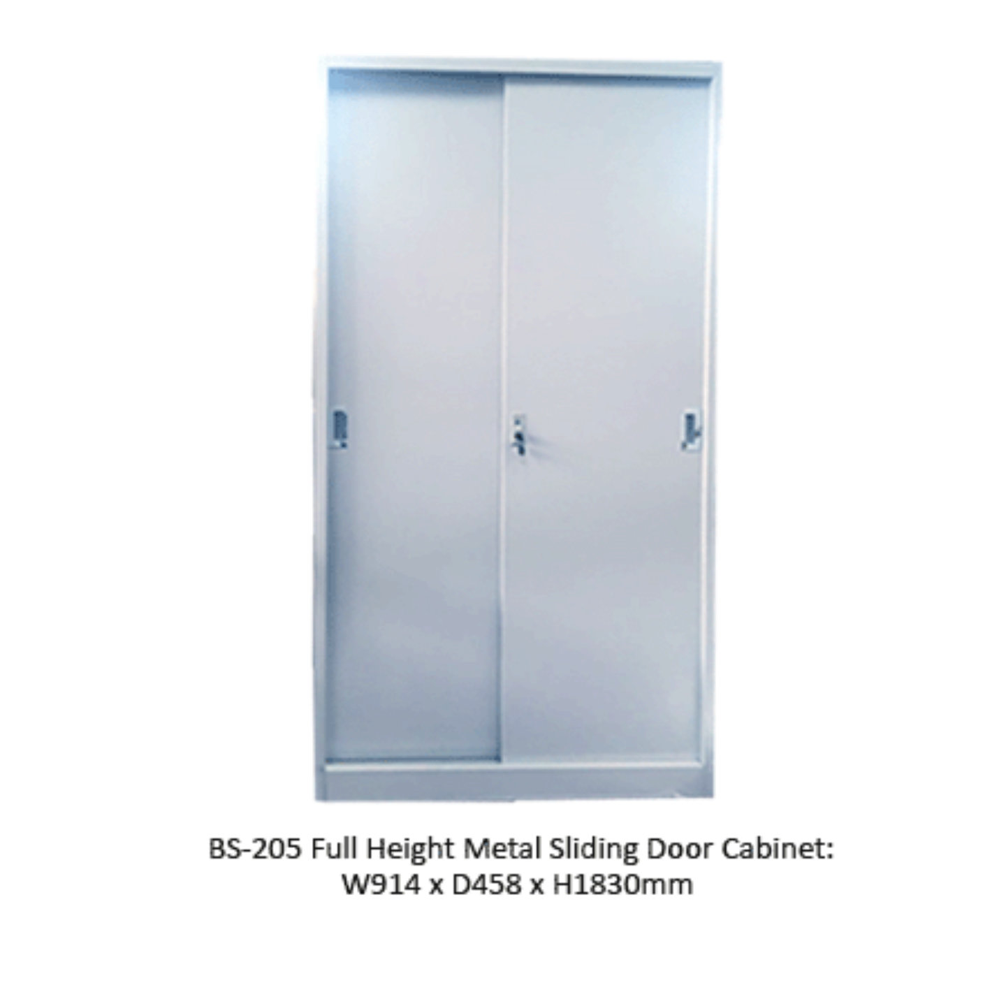 BS-205 Full Height Sliding Door Cabinet c/w 4 Shelves (Col. Grey)