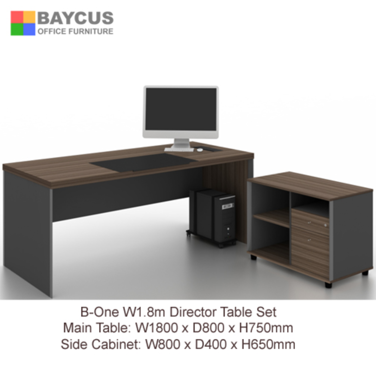 B-One 1.8m Director Table Set Wooden Leg - Dark Brown