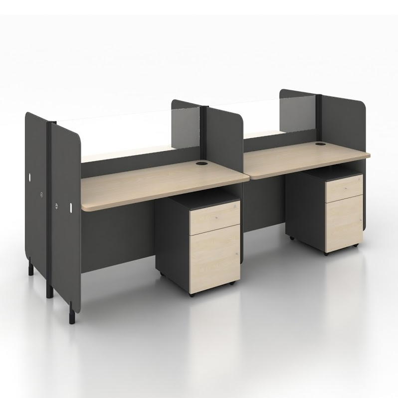 B-One Series 1.2m Office Cubicles for 4 Pax (Teak Table)