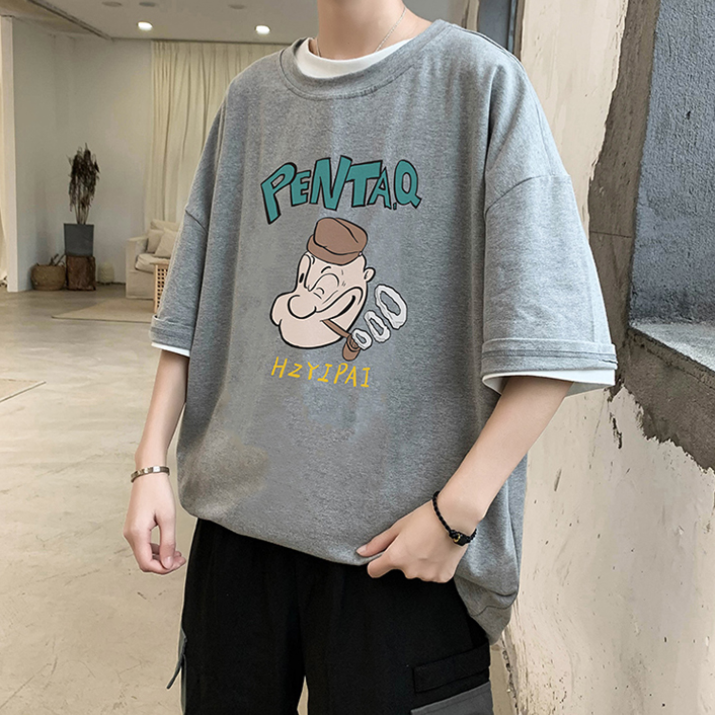 Summer short-sleeved T-shirt male 2020 trend cotton printing five-point sleeve Korean student