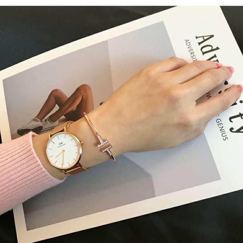 Korean version of titanium steel opening double t adjustable diamond rose gold bracelet fashion women jewelry