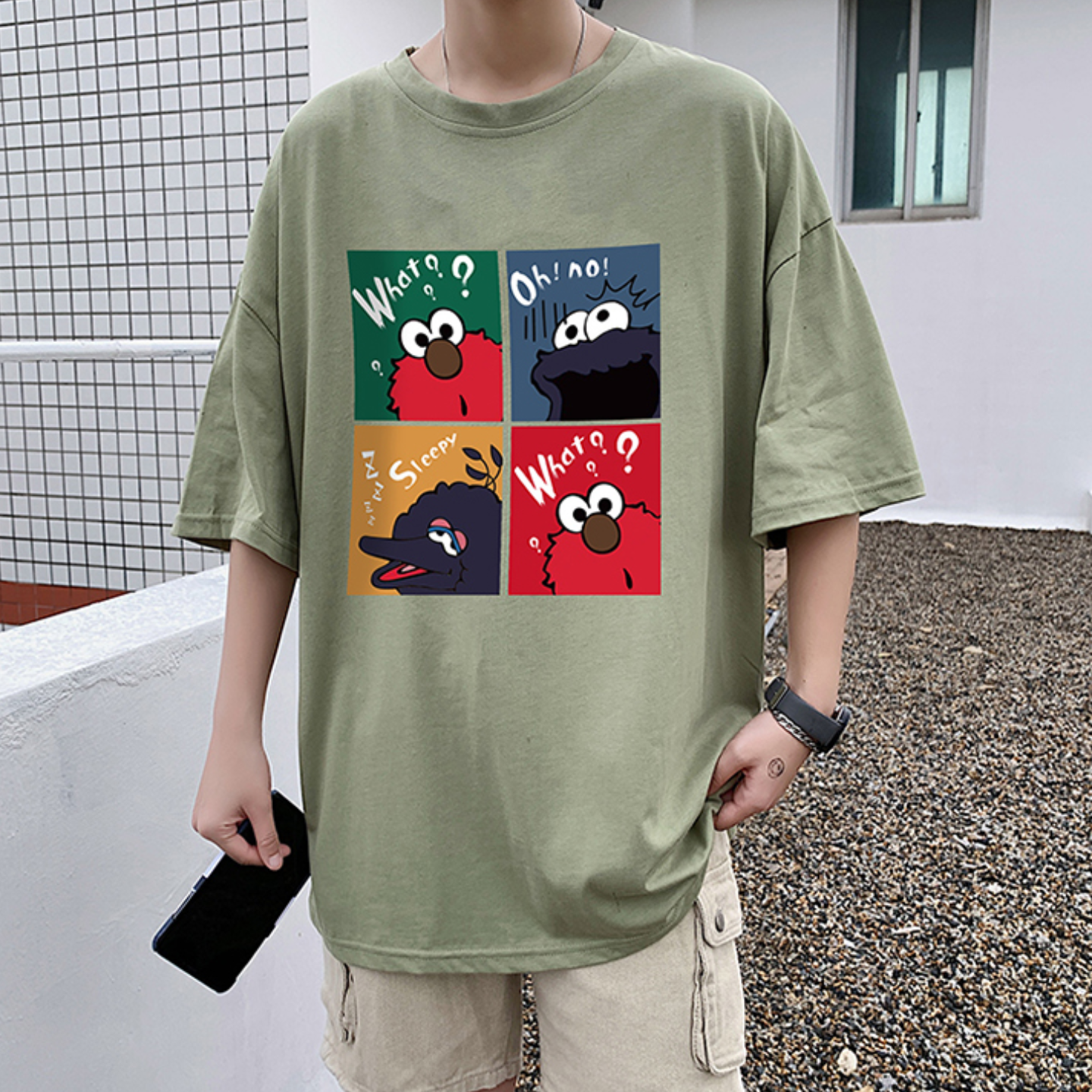Summer short-sleeved T-shirt male 2020 trend cotton printing five-point sleeve Korean cartoon