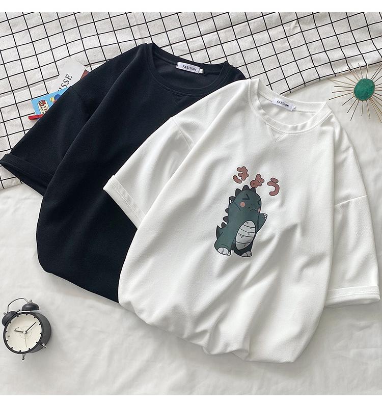 Cute dinosaur short-sleeved men's summer loose trend wild half-sleeved cartoon youth campus small fresh t-shirt