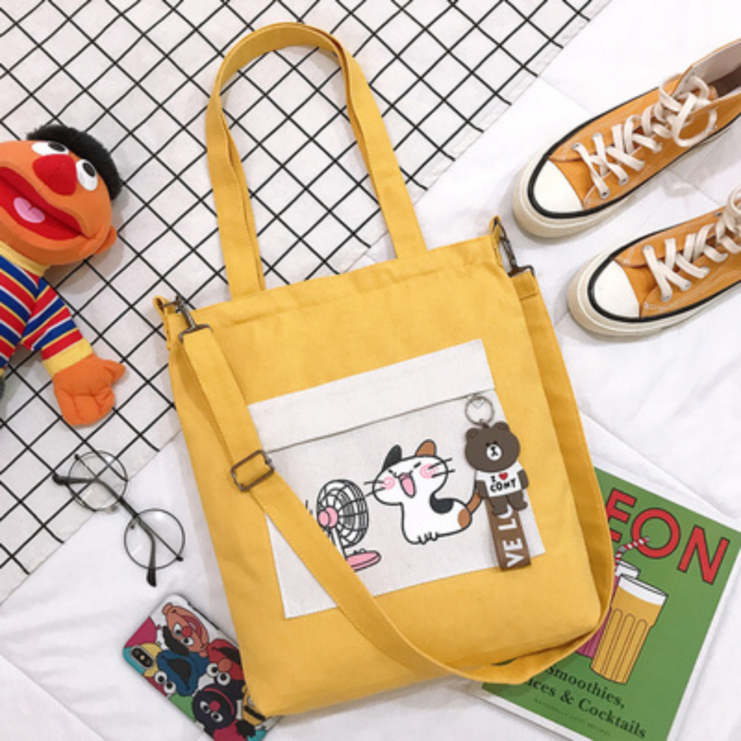 Tote bag Tutorial bag primary school student canvas bag female cat fan