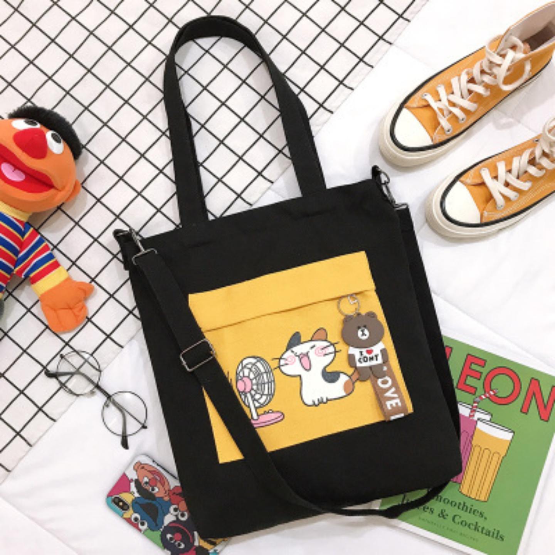 Tote bag Tutorial bag primary school student canvas bag female cat fan