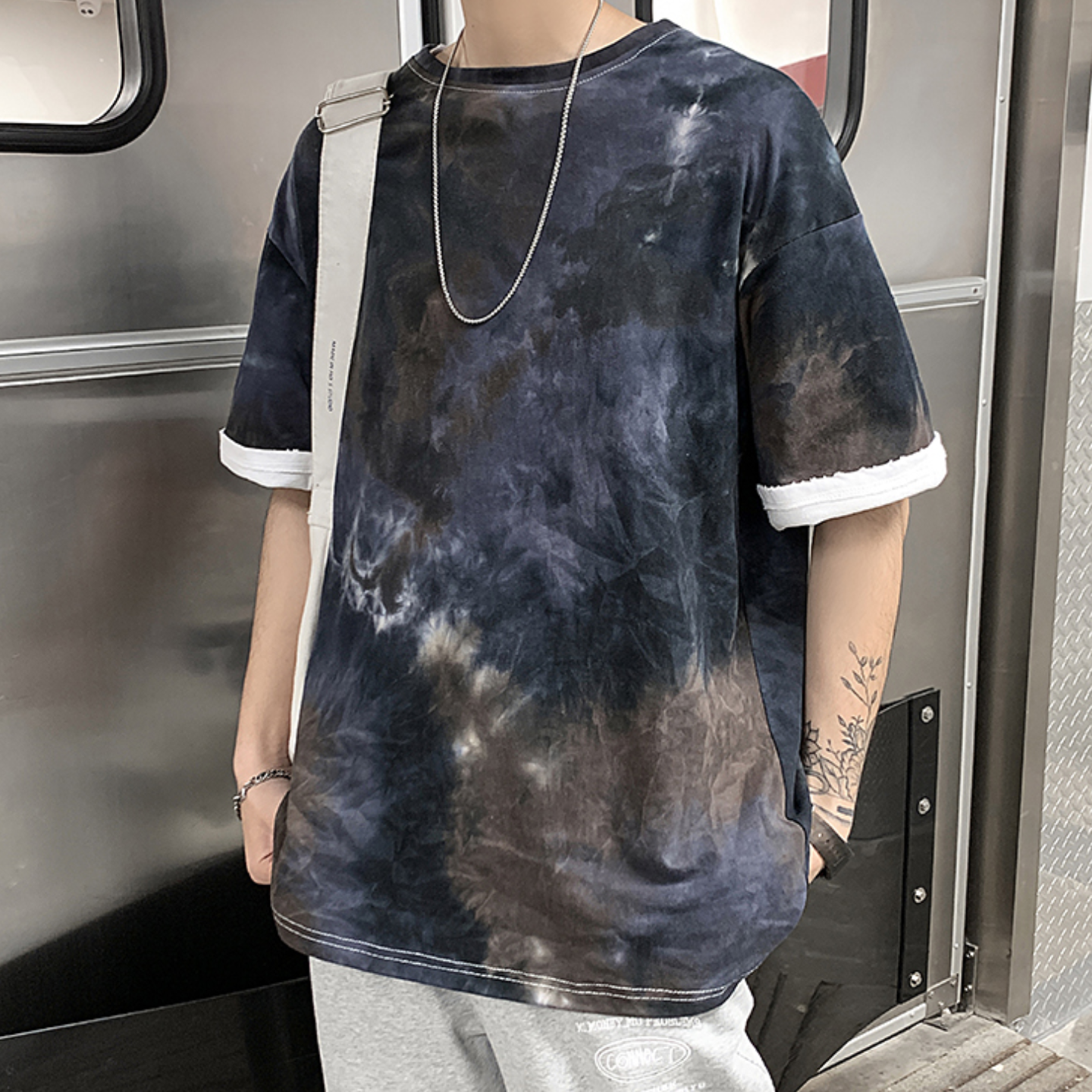 Short-sleeved T-shirt men's loose large size tide fat man compassionate students summer gradient camouflage half sleeve