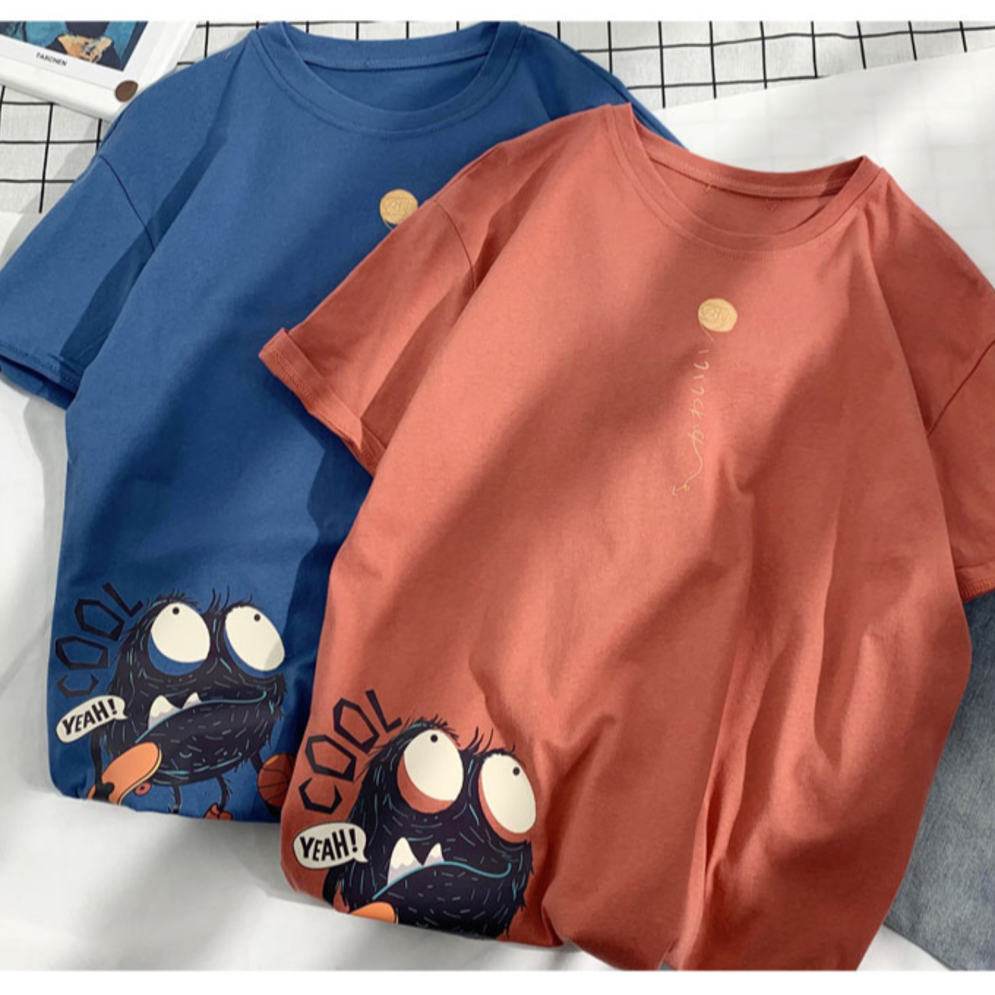 Cotton printed short-sleeved men's summer Hong Kong style trend loose breathable T-shirt student popular youth comfortable half sleeve