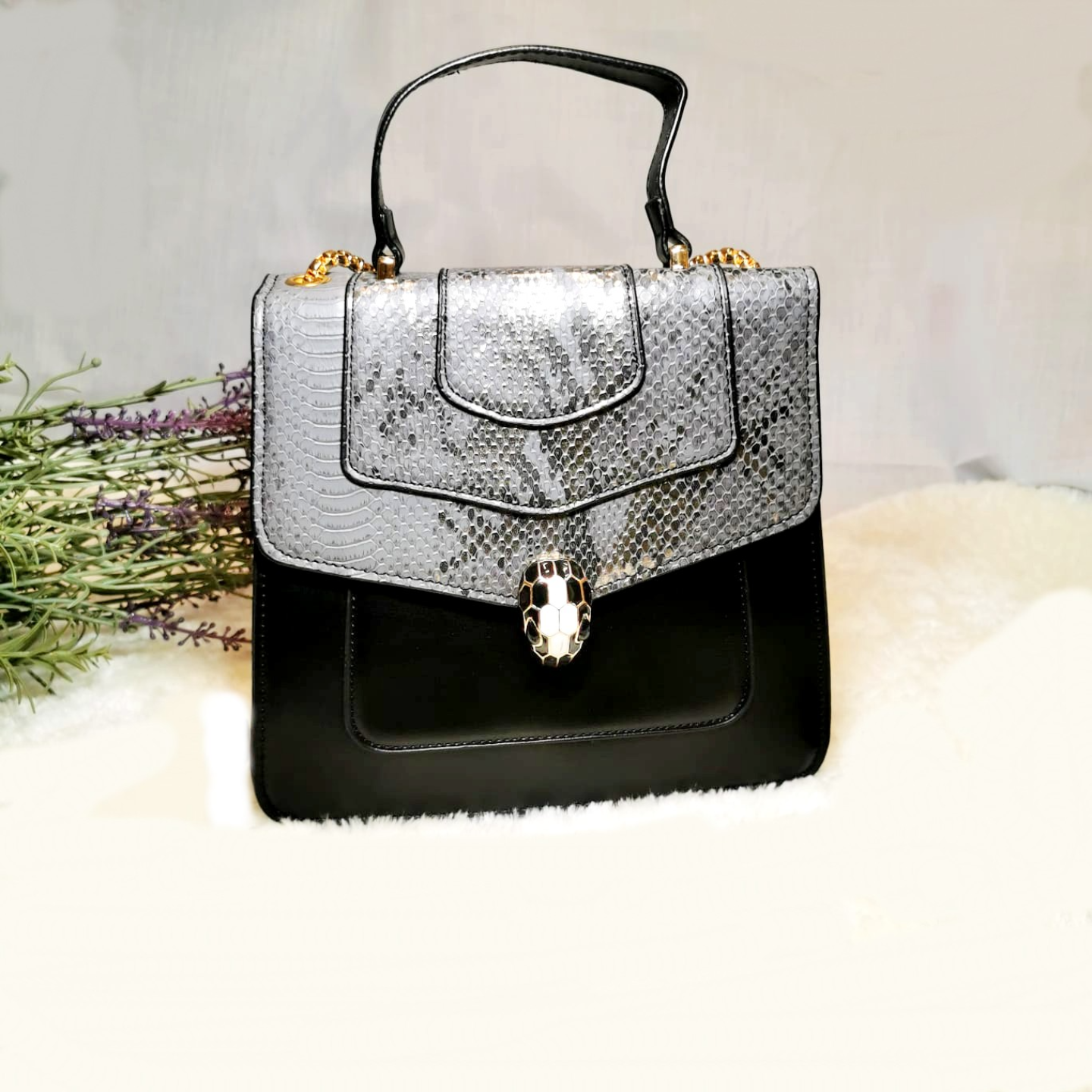 Fashion snake skin PU ladies bag