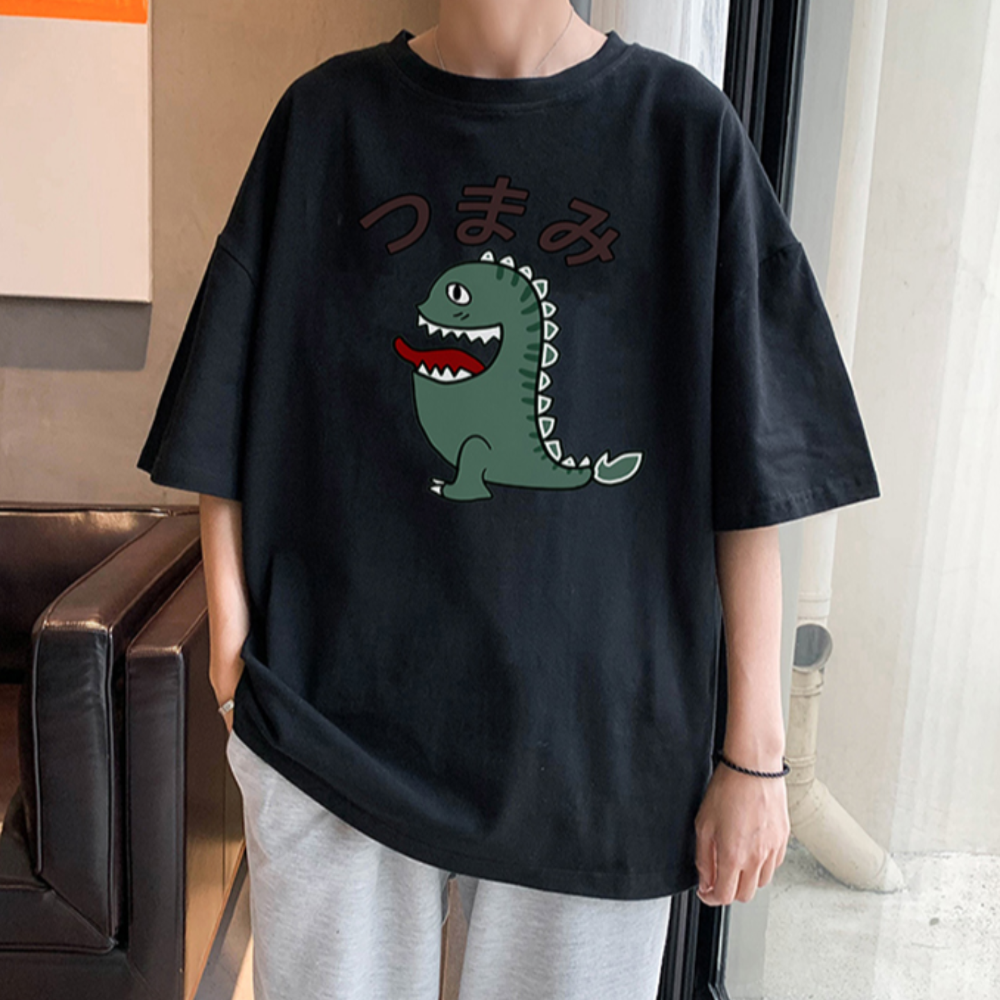 Summer short-sleeved T-shirt male 2020 trend cotton printing five-point sleeve Korean