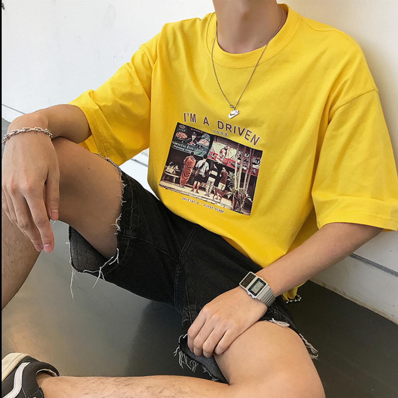 Korean style short-sleeved men cotton T-shirt
