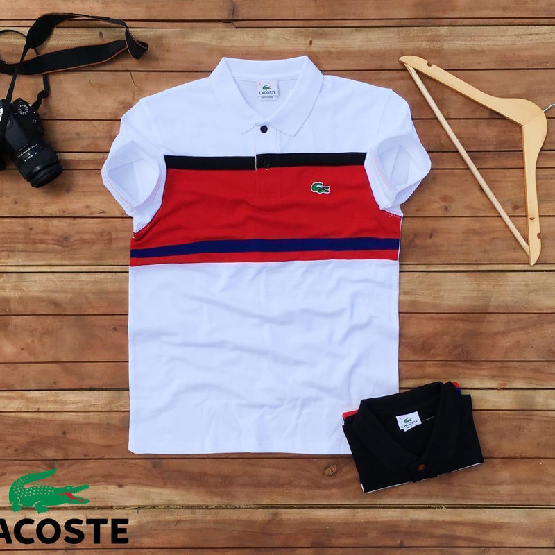 Men's Polo T - Shirt With Cut n Sew On Font