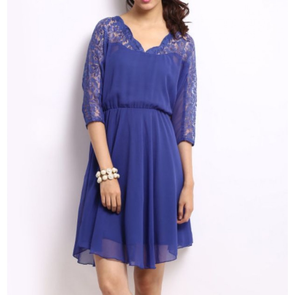 La  Facon-blue-lace-fit--flare-dress