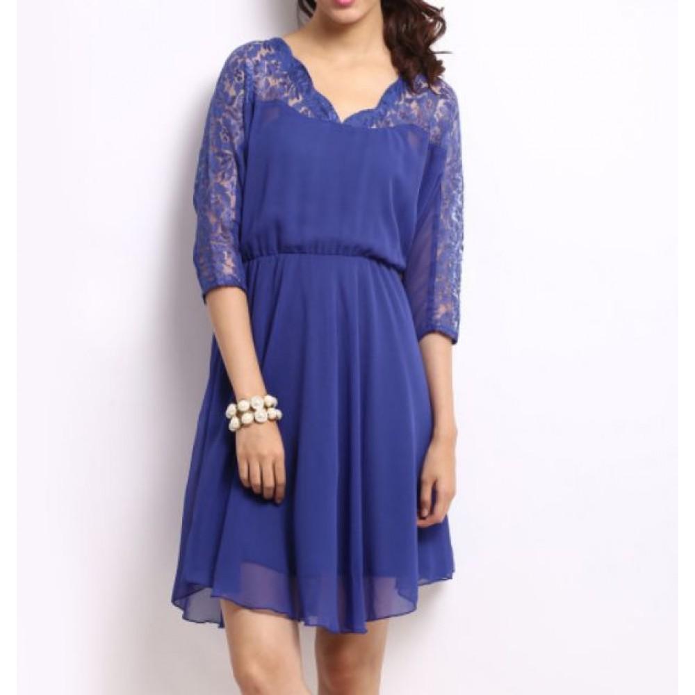 La  Facon-blue-lace-fit--flare-dress