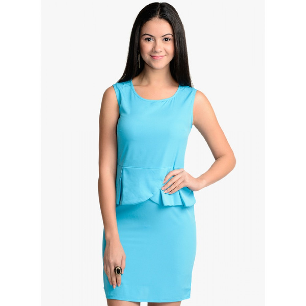 Lafacon-Blue-Solid-Peplum-Dress
