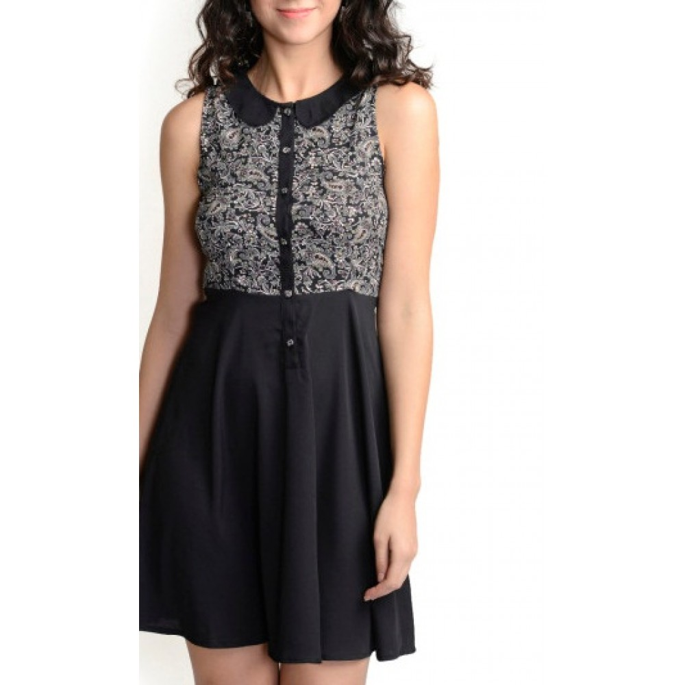 La Facon-black-printed-fit-and-flare-dress