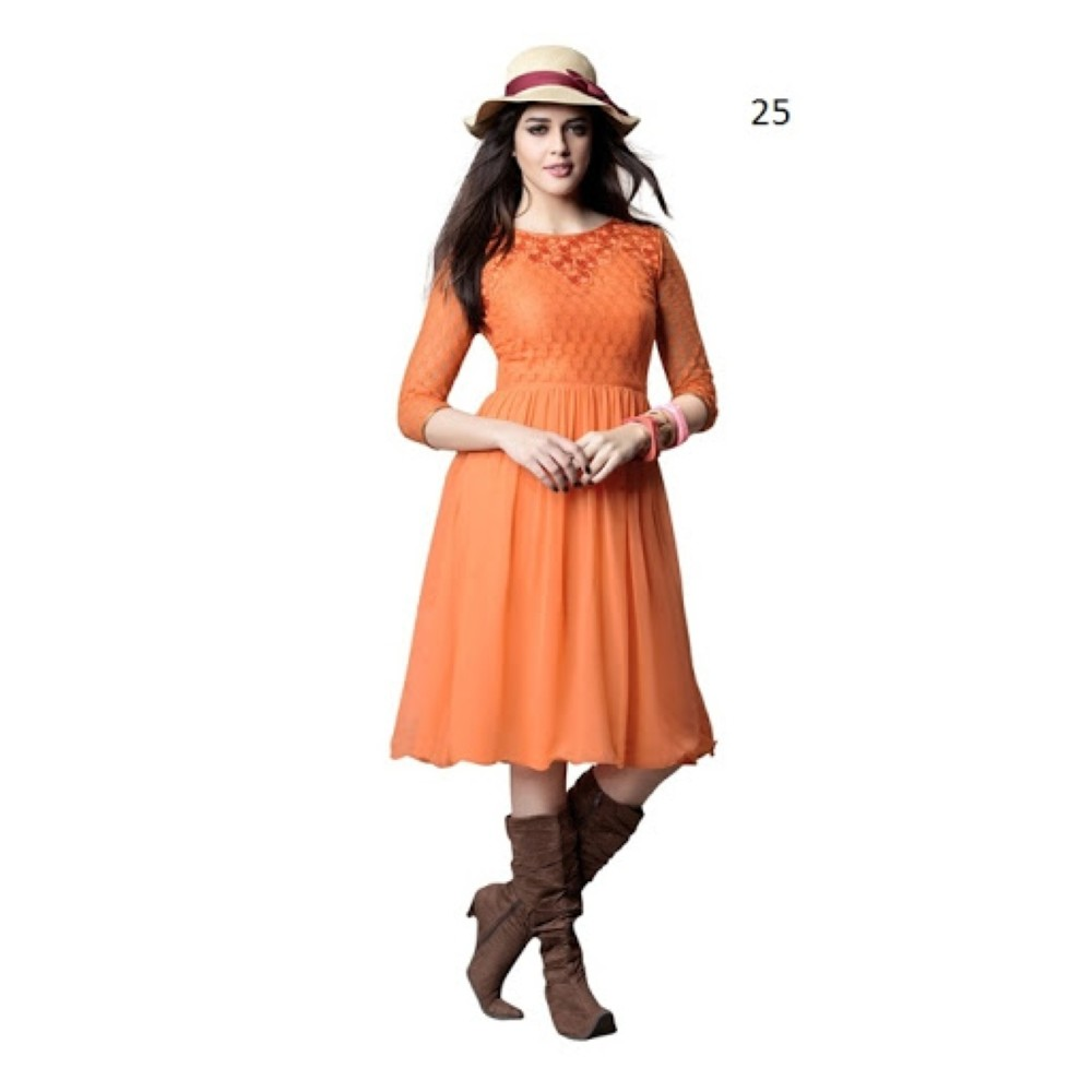 Lafacon Stitched Orange Solid Georgette Kurti