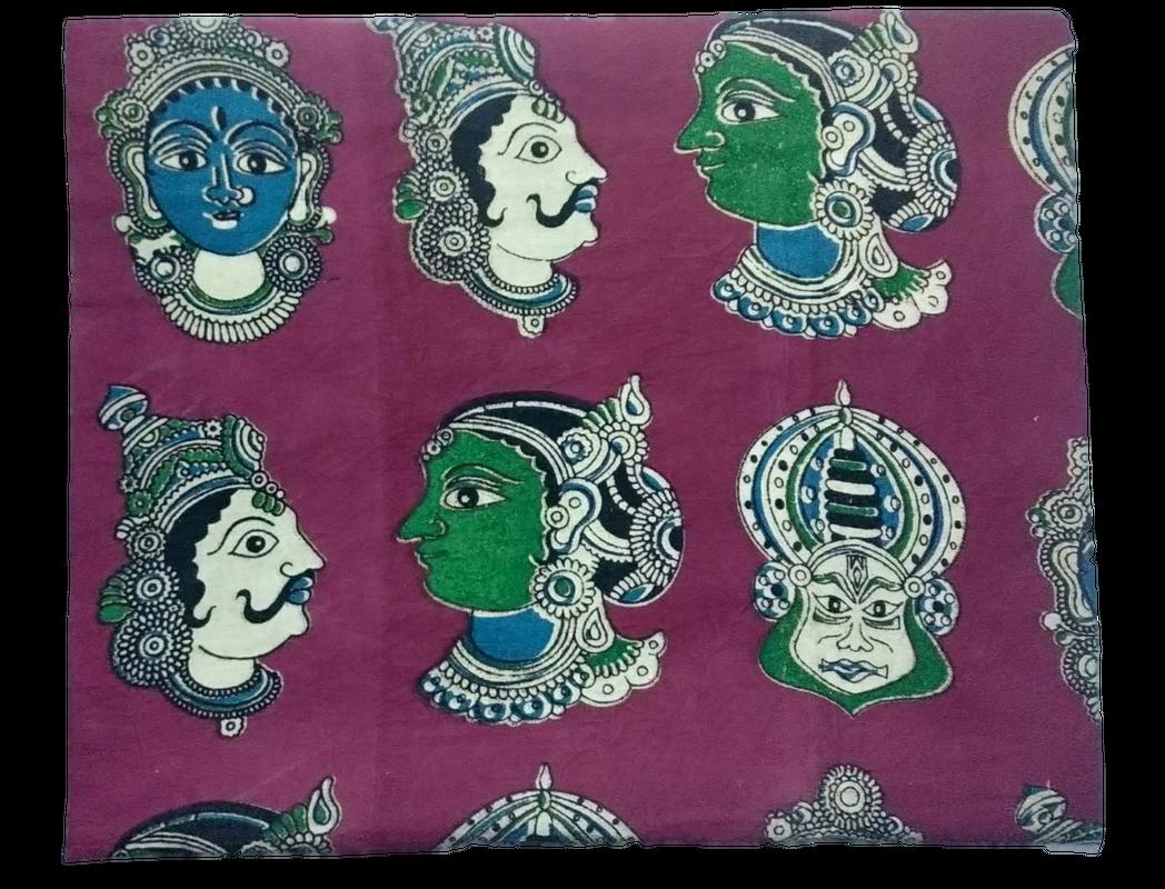 Cotton Kalamkari Handblock Saree BlouseKurti Fabric 100 cms - Multi Base Dancers Print - Rani Pink Colour