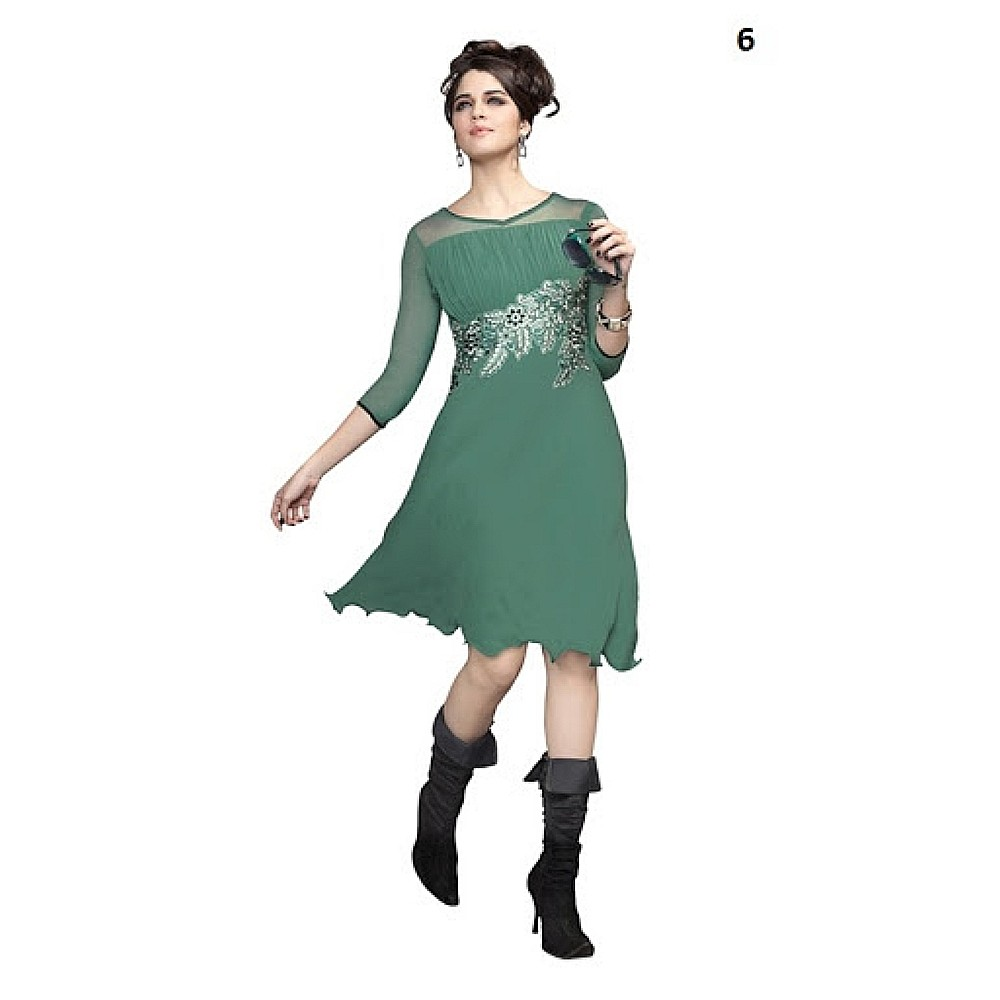 Lafacon Stitched Dark Green Solid Georgette Kurti