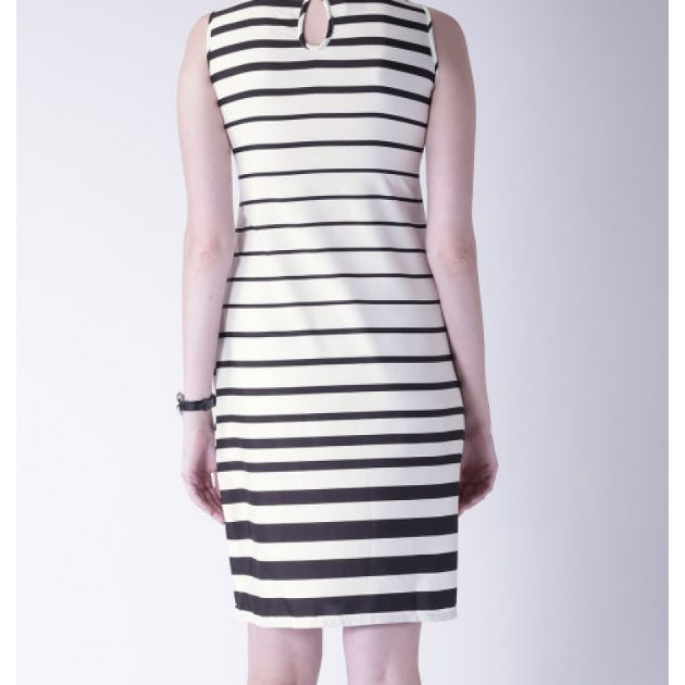 La  Facon-women-black--white-striped-sheath-dress