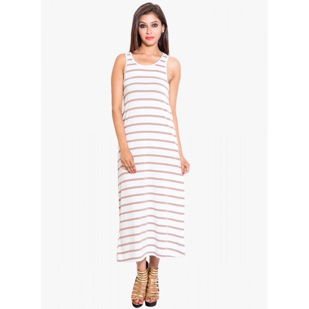 Lafacon-White-Coloured-Striped-Maxi-Dress