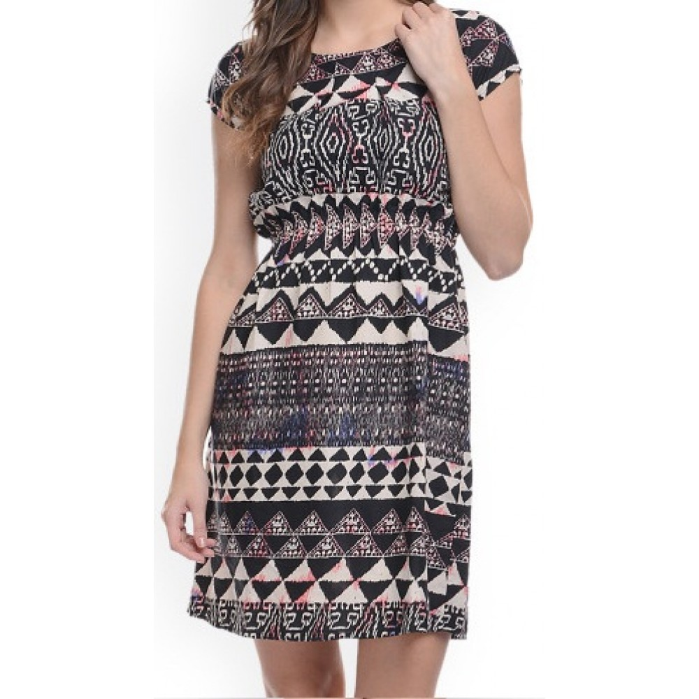 Lafacon-black--white-printed-a-line-dress