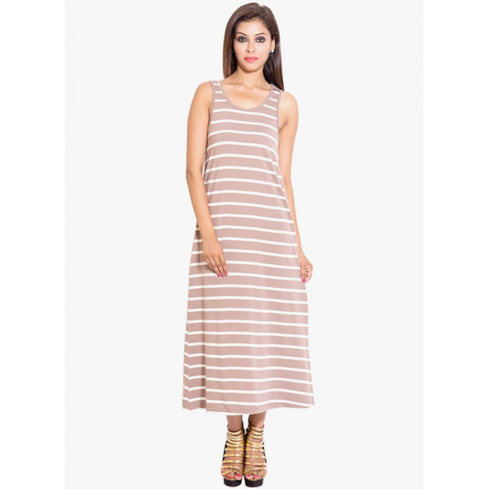 Lafacon-Brown-Coloured-Striped-Maxi-Dress