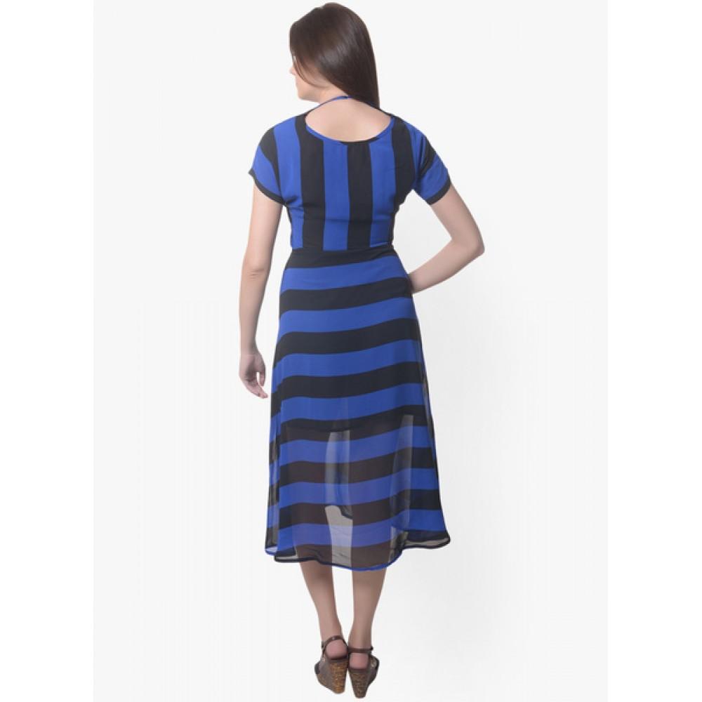 Lafacon-Blue-Colored-Printed-Shift-Dress