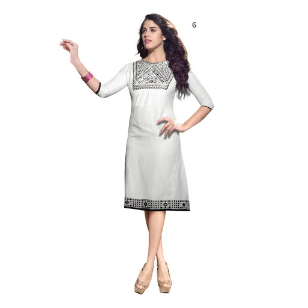 Lafacon Stitched White Solid Linen Kurti