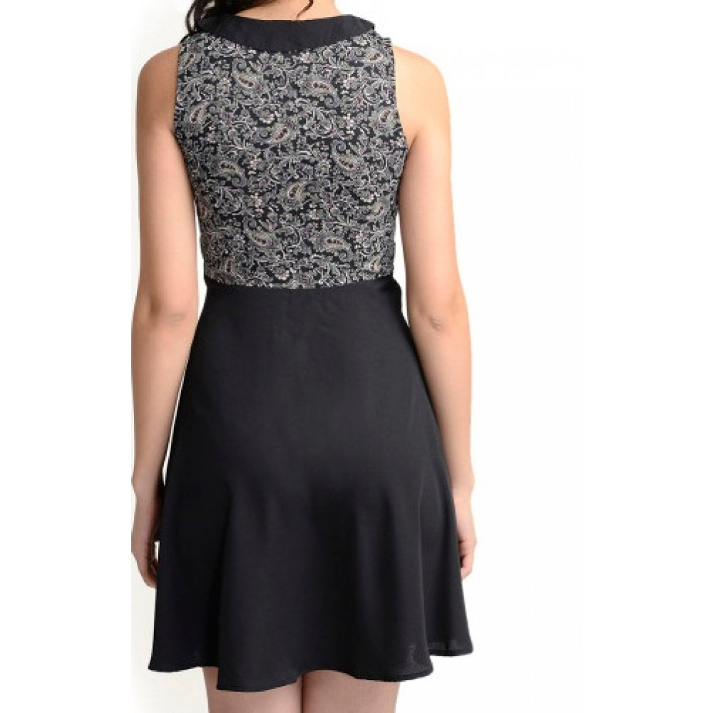 La Facon-black-printed-fit-and-flare-dress