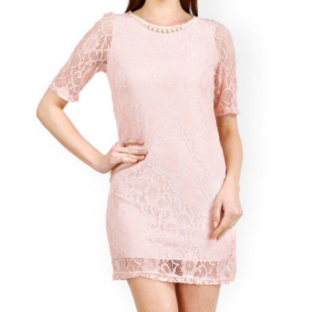 La  Facon-pink-lace-sheath-dress