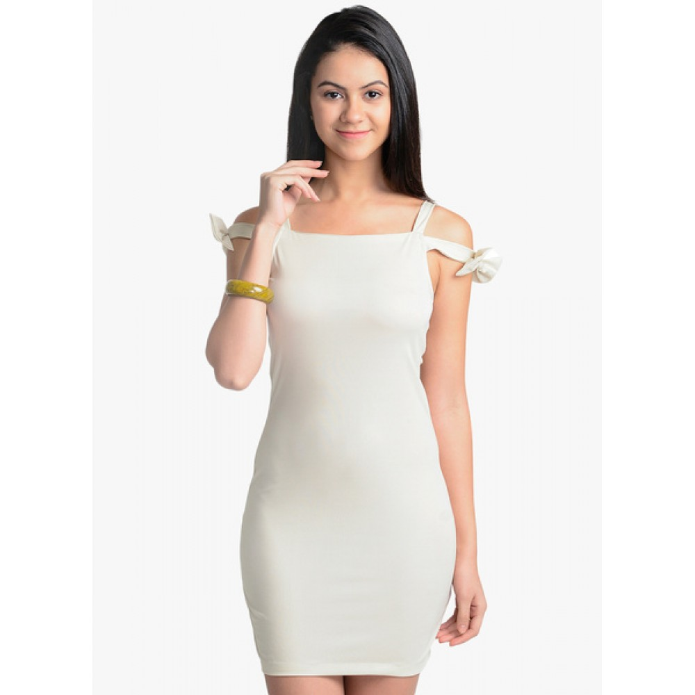 Lafacon-Beige-Solid-Bodycon-Dress
