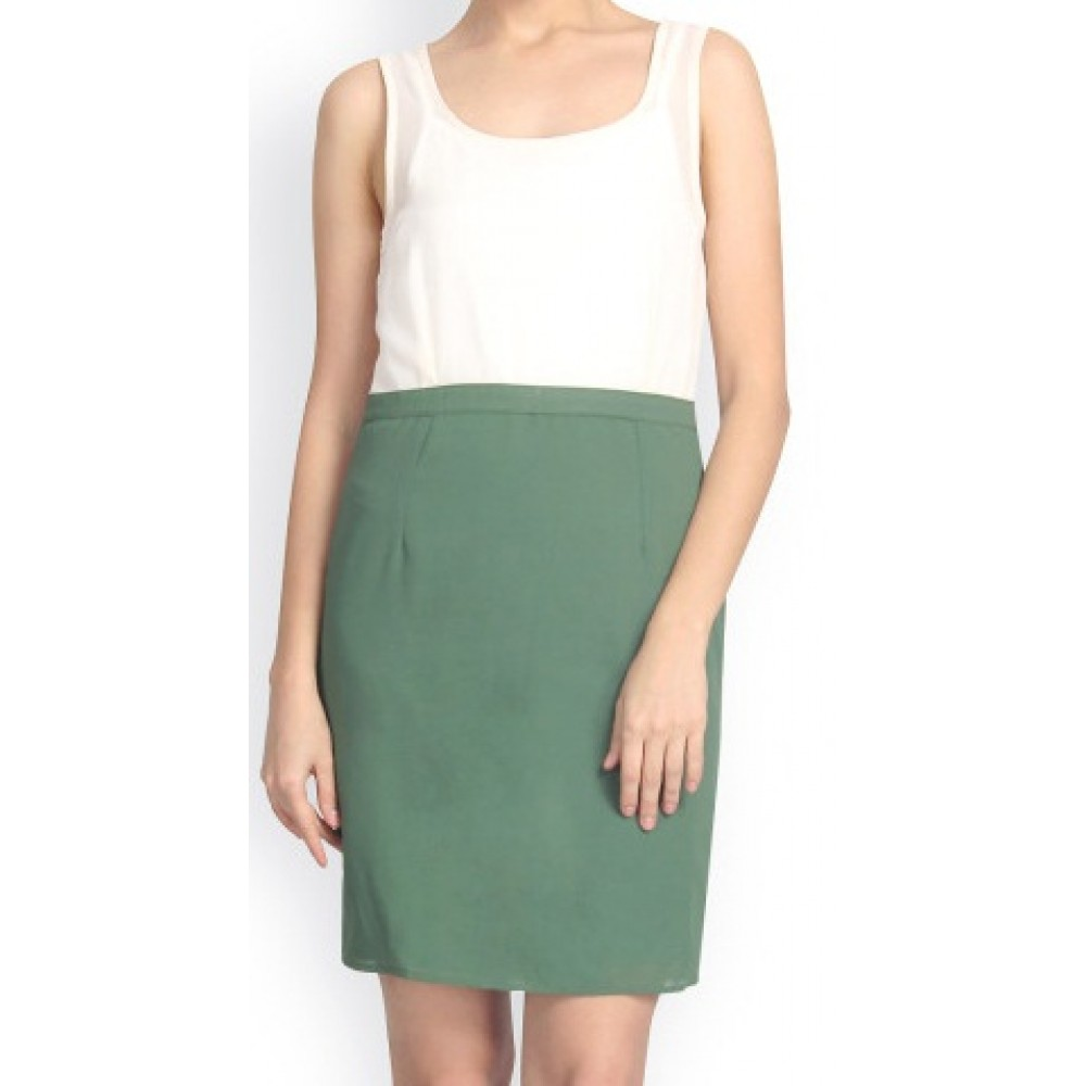 La Facon-off-white--green-sheath-dress