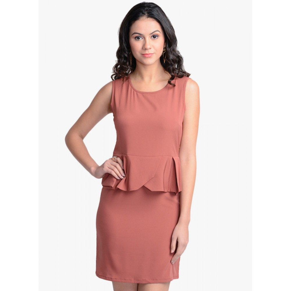 Lafacon-Peach-Solid-Peplum-Dress