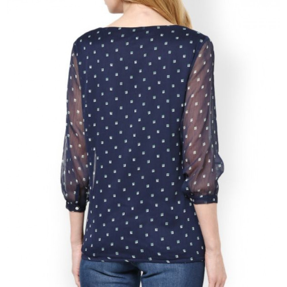 La Facon-women-navy-printed-top