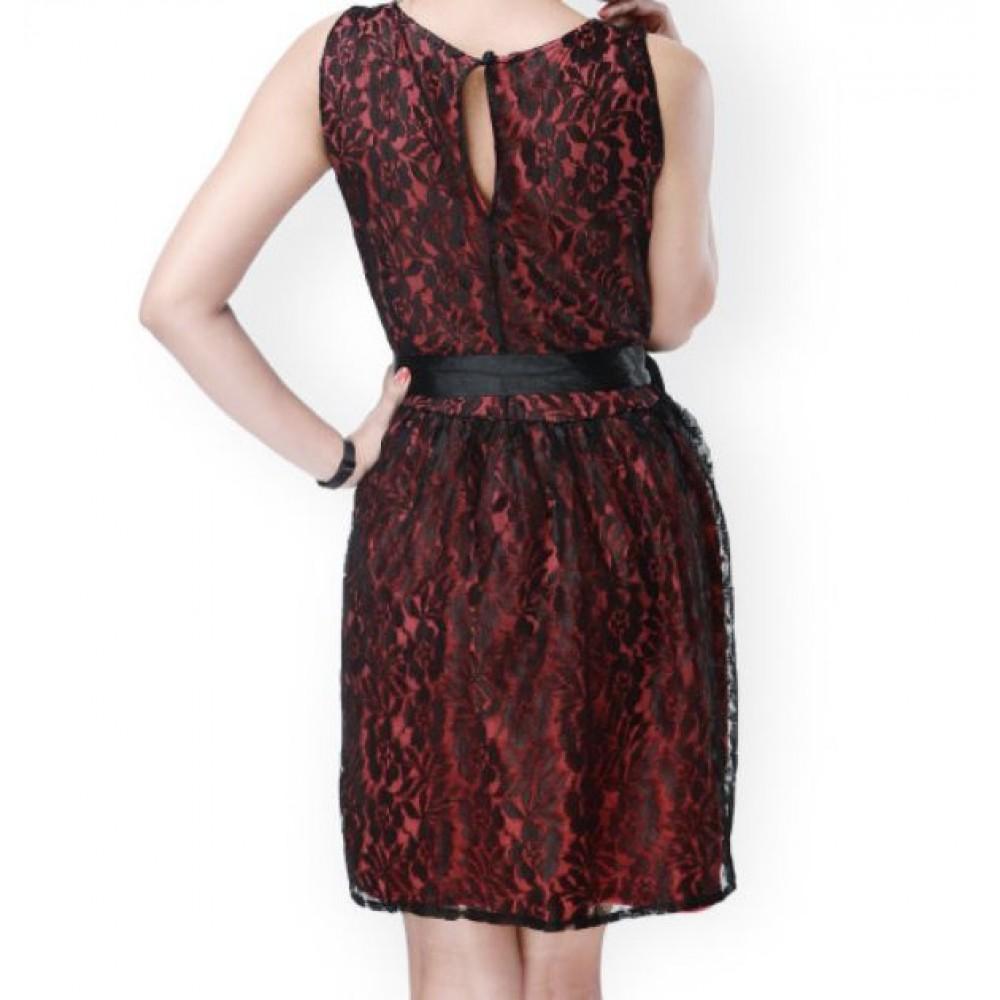 La  Facon-red--black-lace-fit--flare-dress