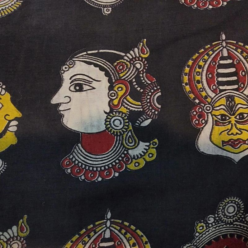 Cotton Kalamkari Handblock Saree BlouseKurti Fabric 100 cms - Multi Base Dancer Print - Maroon Colour