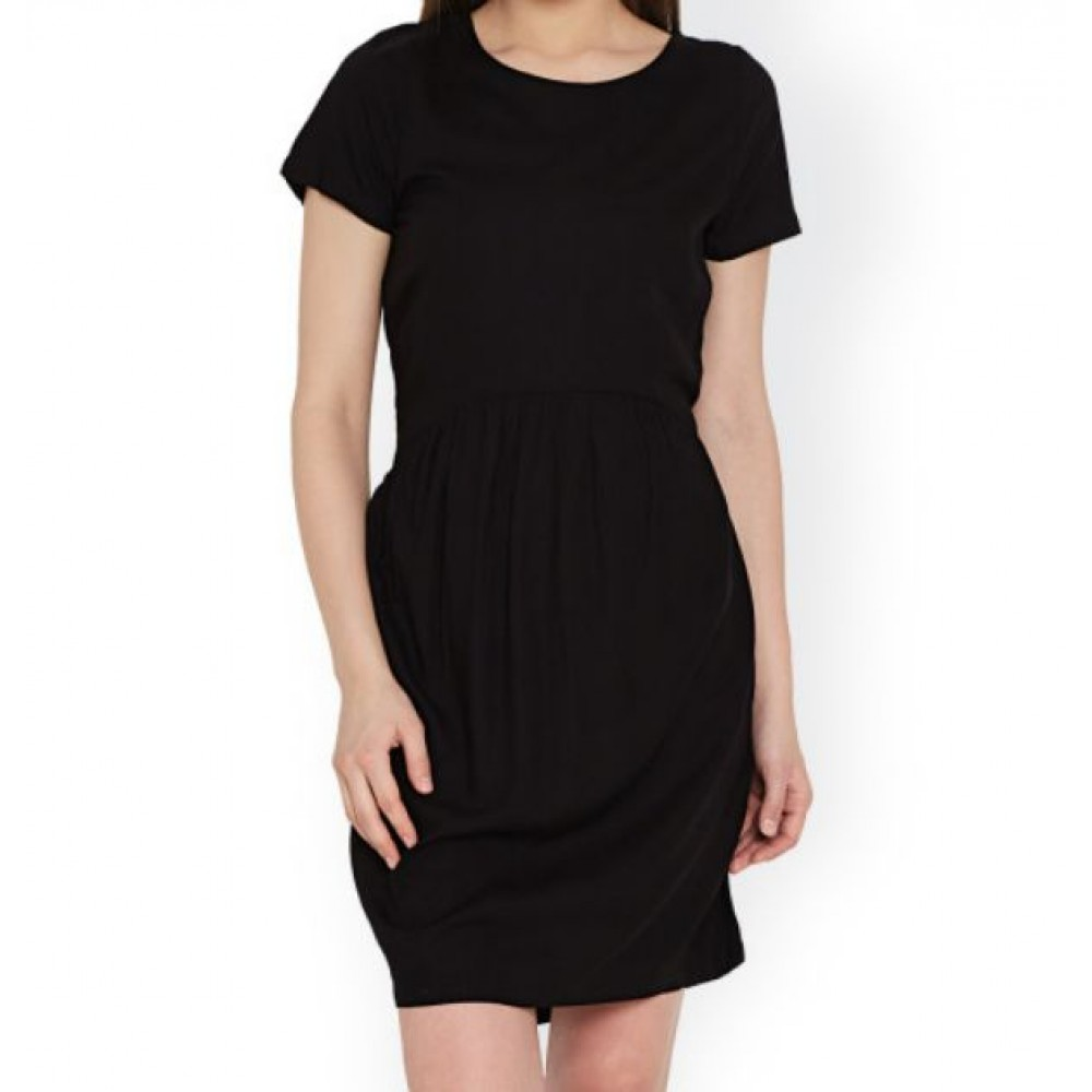 La  Facon-black-solid-sheath-dress