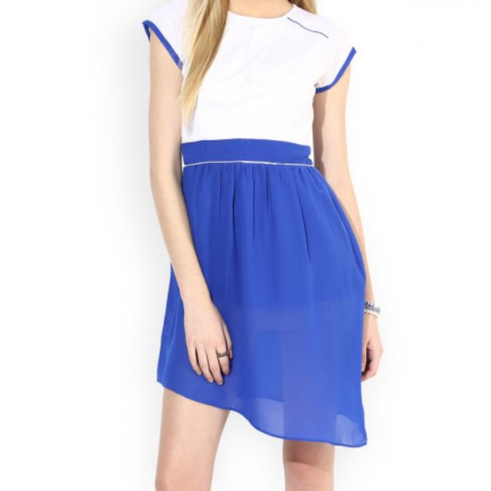 La  Facon-white--blue-a-line-dress