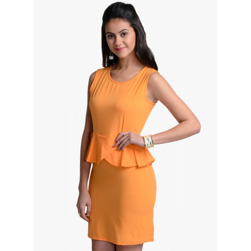 Lafacon-Orange-Solid-Peplum-Dress
