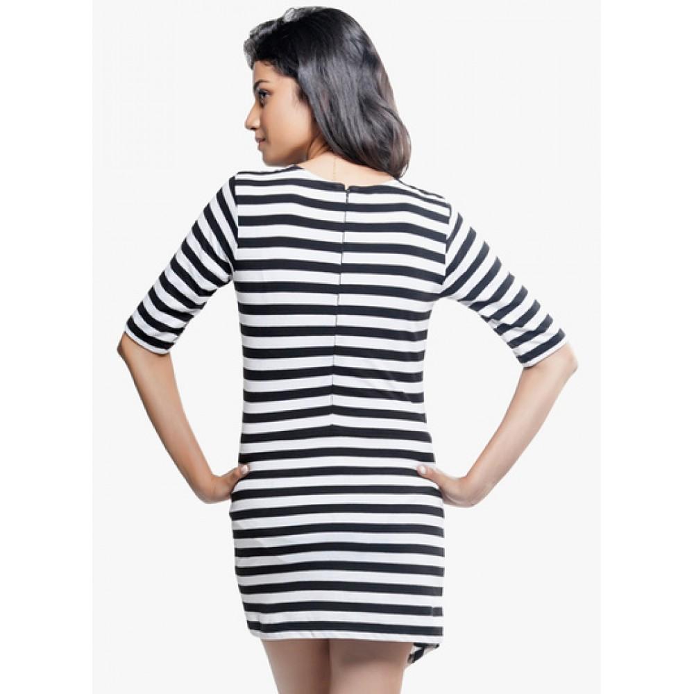 Lafacon-stripes-Black-Coloured-Striped-Asymmetric-Dress