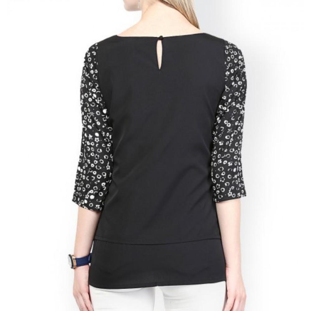 La  Facon-black-printed-top