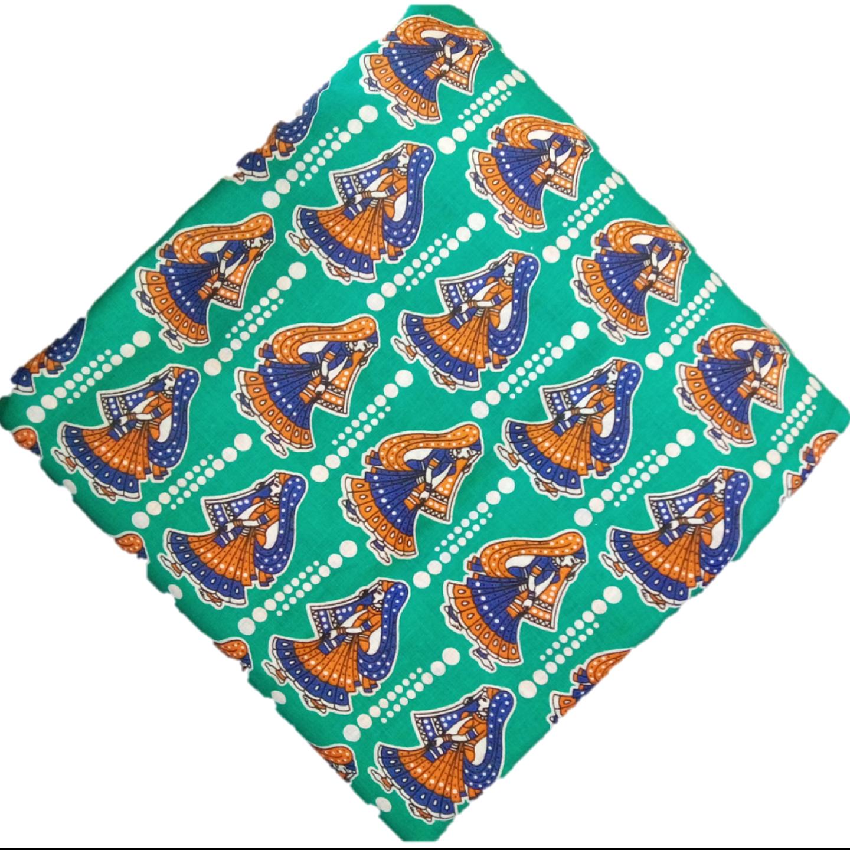 Cotton Kalamkari Handblock Saree Blouse/Kurti Fabric 100 cms Green- Haathi Moore Print