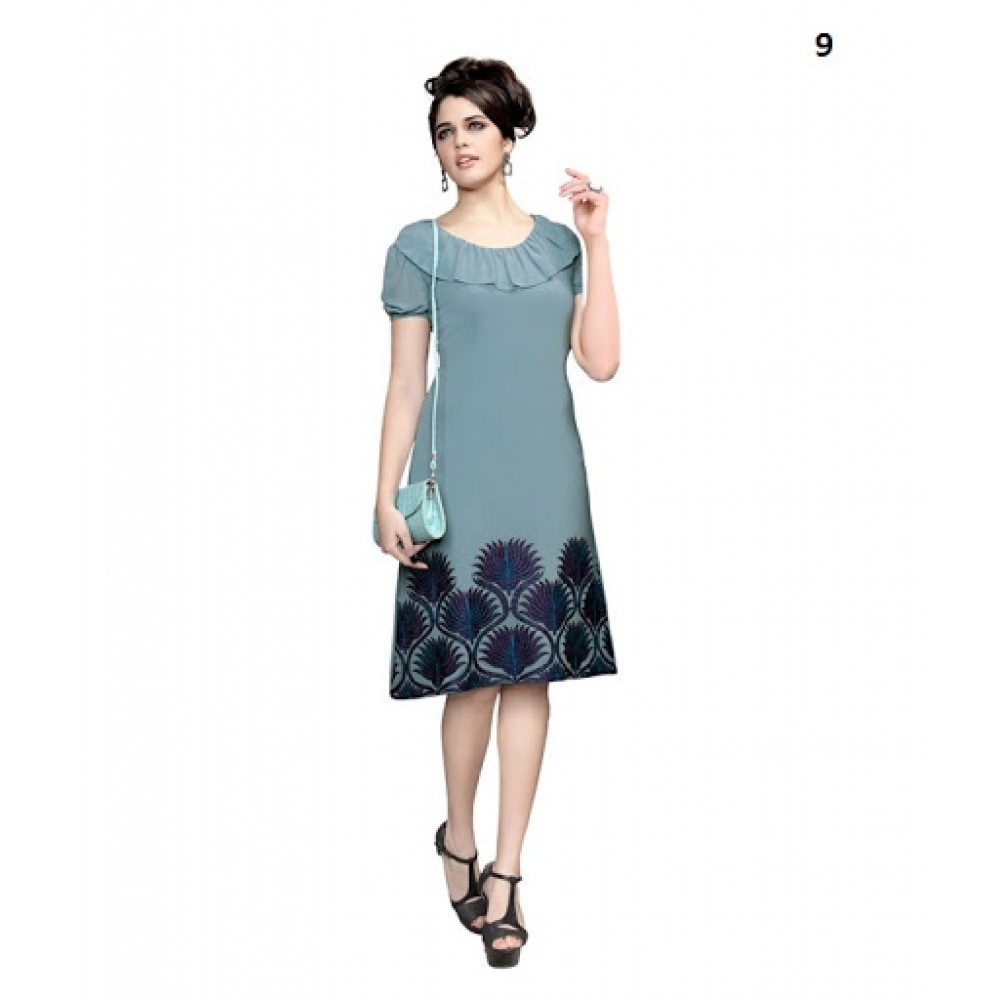 Lafacon Stitched Grey Solid Georgette Kurti