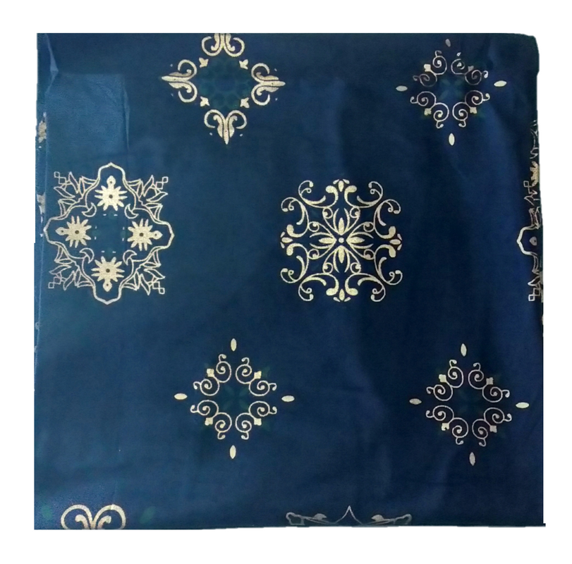 Cotton Kalamkari Handblock Saree BlouseKurti Fabric 100 cms - Designer Blocks Print - Navy Blue Colour
