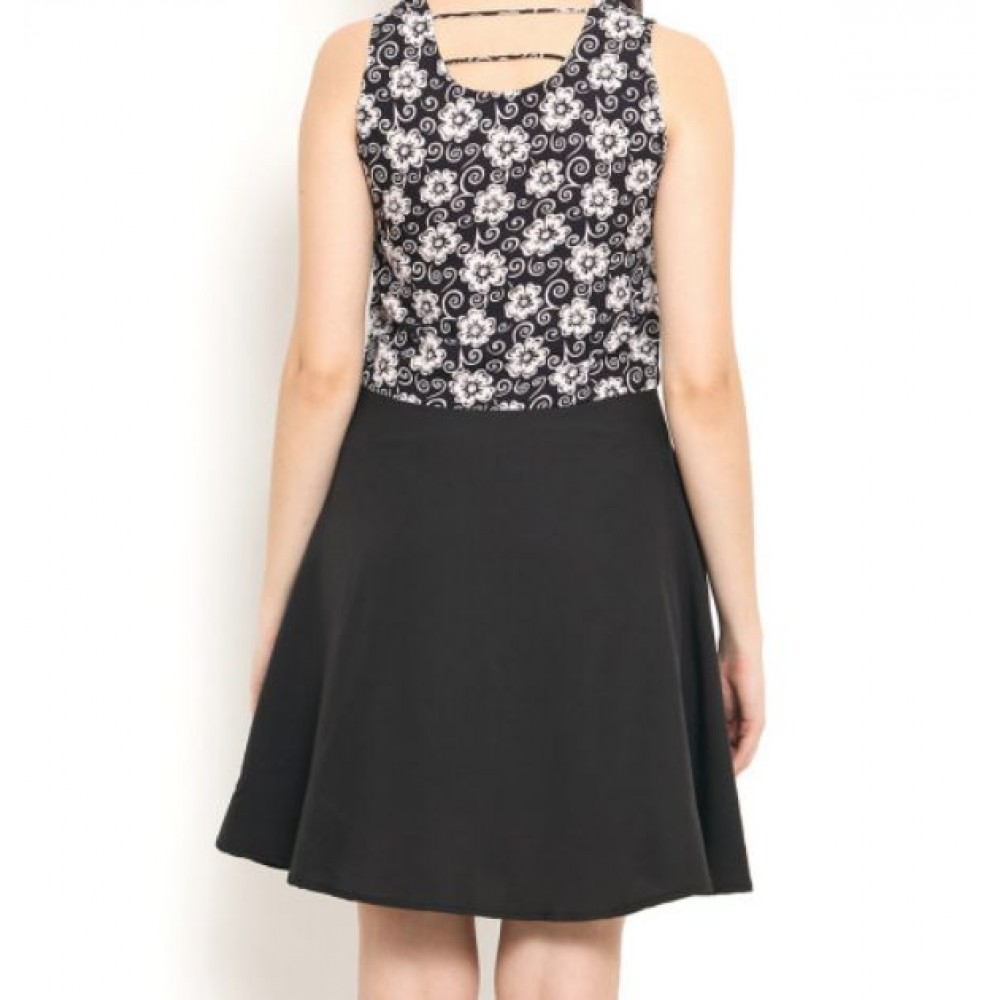 La  Facon-black-printed-polyester-fit--flare-dress